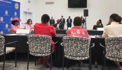 House Speaker Nancy Pelosi and Congresswoman Frederica Wilson participate in a round table discussion with the Haitian diaspora in Little Haiti, Miami, Florida, Oct. 3, 2019. (Photo: @SpeakerPelosi Twitter)