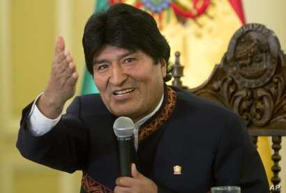 Bolivia's President Evo Morales speaks during a press conference at the government palace in La Paz, Bolivia, Monday, April 17,…