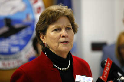 Sen. Jeanne Shaheen, D-NH, speaks at the Portsmouth Naval Shipyard, Friday, May, 3, 2019, in Kittery, Maine. (AP Photo/Robert F…