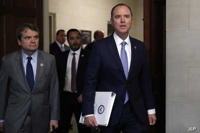 House Intelligence Committee Chairman Adam Schiff, D-Calif., arrives for a hearing with former U.S. Ambassador to Ukraine