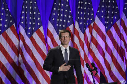Democratic presidential candidate South Bend, Ind. Mayor Pete Buttigieg reacts to applause after delivering a Veterans Day address during a campaign event in Rochester, N.H., Nov. 11, 2019.