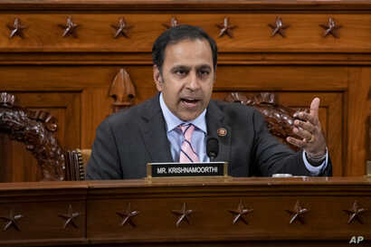 Democratic Congressman Raja Krishnamoorthi, questions a witness during a House Intelligence Committee impeachment inquiry hearing on Capitol Hill, in Washington, Nov. 20, 2019.