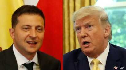 From left, Ukraine President Volodymyr Zelenskiy and U.S. President Donald Trump.