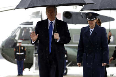 President Donald walks to board Air Force One for a trip to London to attend the NATO summit, Monday, Dec. 2, 2019, at Andrews…