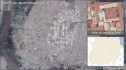 Map of Factory fire in North Khartoum, Sudan