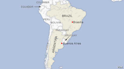 Map of Brazil and Argentina