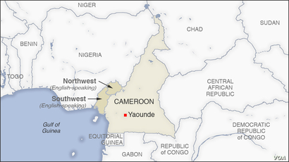 Map of Northwest and Southwest regions, Cameroon