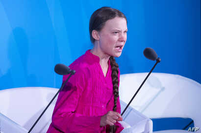 Climate activist Greta Thunberg, 16, speaks during the U.N. Climate Action Summit at the United Nations Headquarters in New York City, Sept. 23, 2019.