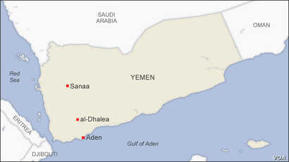 Map of al-Dhalea Yemen
