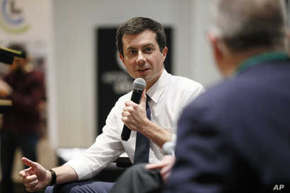 Democratic presidential candidate South Bend, Ind., Mayor Pete Buttigieg speaks during the Iowa Farmers Union Presidential Forum, Dec. 6, 2019, in Grinnell, Iowa.