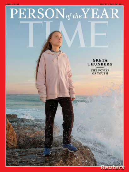 Time cover features Swedish teen climate activist Greta Thunberg named the magazine's Person of the Year for 2019 in this undated handout.