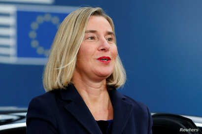 European Union High Representative for Foreign Affairs and Security Policy Federica Mogherini arrives at the European Union…