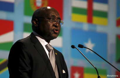 African Development Bank President Donald Kaberuka speaks during the opening ceremony of the annual meeting commemorating the…