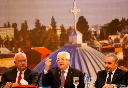 Palestinian President Mahmoud Abbas delivers a speech following the announcement by the U.S. President Donald Trump of the Mideast peace plan, in Ramallah in the Israeli-occupied West Bank, Jan. 28, 2020.
