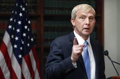 U.S. Attorney for the Eastern District of New York Richard Donoghue, speaks during a news conference in his office, in the…