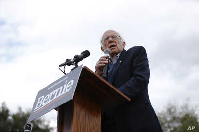 Democratic presidential candidate Sen. Bernie Sanders, I-Vt., speaks during a campaign event, Feb. 28, 2020, in S.C.
