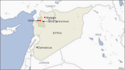 Map of Idlib and Aleppo, Syria
