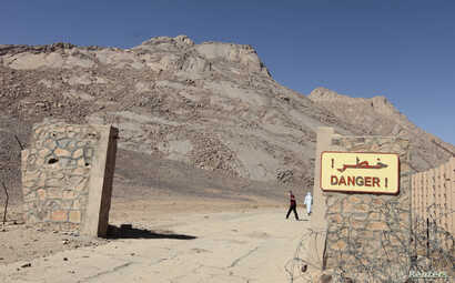 A danger sign is seen at a French nuclear test site in In-Ekker, near Ain Meguel, about 170 km (106 miles) from the southern…