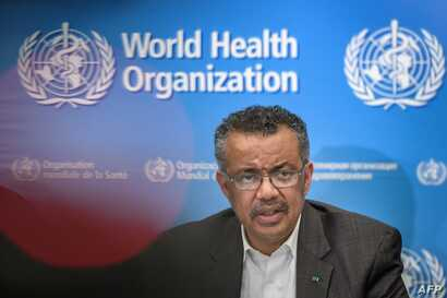 FILE - World Health Organization (WHO) Director-General Tedros Adhanom Ghebreyesus speaks during a press conference to discuss the coronavirus outbreak, in Geneva, Switzerland, Jan. 30, 2020.