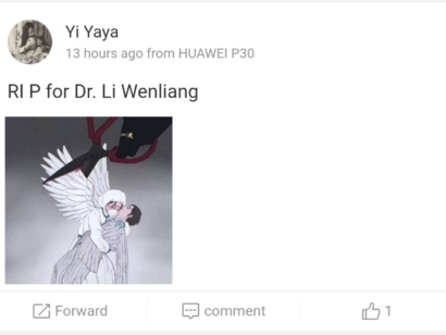 This illustration of a doctor angel carrying a patient while their wings are being cut circulated on Weibo, February 7, 2020. (Screengrab)