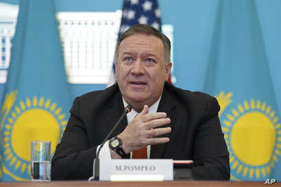 U.S. Secretary of State Mike Pompeo holds a joint news conference with Kazakh Foreign Minister Mukhtar Tleuberdi (not pictured) at the Ministry of Foreign Affairs in Nur-Sultan, Kazakhstan, Feb. 2, 2020.