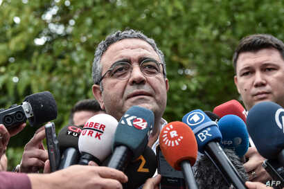 Lawmaker Sezgin Tanrikulu of the opposition Republican People's Party (CHP) speaks to journalists during a demonstration in…
