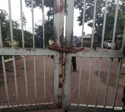 In February HRDC sealed Electoral commission offices with steel chain.(Lameck Masina/VOA)