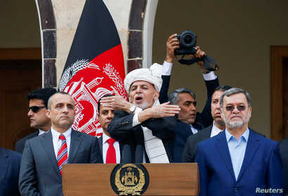 Afghanistan's President Ashraf Ghani speaks during his inauguration for a second term in office, in Kabul, Afghanistan, March 9, 2020.