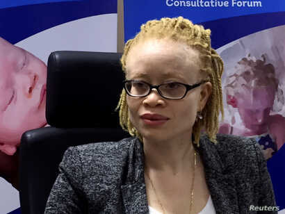United Nations' first independent expert on albinism, Ikponwosa Ero, addresses the media in Kenya's capital Nairobi, Nov. 16, 2016.
