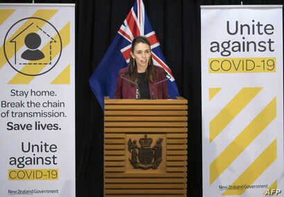 New Zealand's Prime Minister Jacinda Ardern briefs the media about the COVIS-19 coronavirus at the Parliament House in…