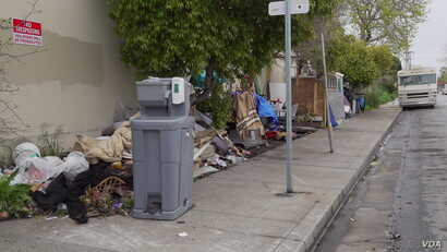 Homeless people and camps in Berkeley, California, in April 2020.
