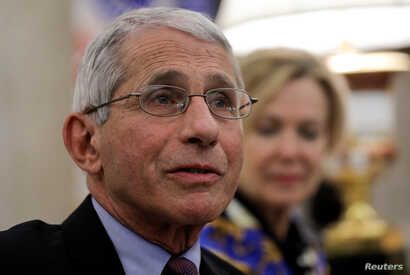 National Institute of Allergy and Infectious Diseases Director Dr. Anthony Fauci speaks during a coronavirus response meeting in the Oval Office at the White House in Washington, April 29, 2020.