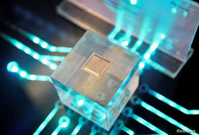 A chip by Huawei's subsidiary HiSilicon is displayed at the Huawei China Eco-Partner Conference in Fuzhou, Fujian province,…