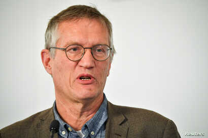 State epidemiologist Anders Tegnell of the Public Health Agency of Sweden speaks during a news conference on a daily update on…
