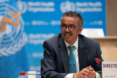 Tedros Adhanom Ghebreyesus, director general of World Health Organization (WHO) attends the virtual 73rd World Health Assembly …