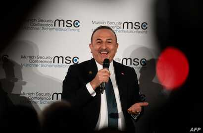 Turkish Foreign Minister Mevlut Cavusoglu speaks during the 56th Munich Security Conference (MSC) in Munich, southern Germany,…