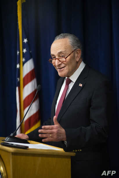 NEW YORK, NY - FEBRUARY 06: Senate Minority Leader Chuck Schumer (D-NY) speaks with the media about impeachment trial at this…