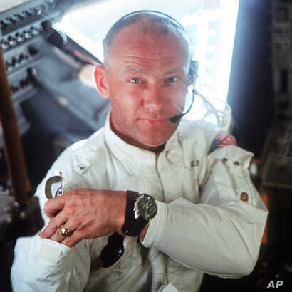 """This July 20, 1969 photo made available by NASA shows pilot Edwin """"Buzz"""" Aldrin in the Apollo 11 Lunar Module. For the 50th anniversary of the landing, Omega issued a limited edition Speedmaster watch, a tribute to the one that Aldrin wore to the…"""
