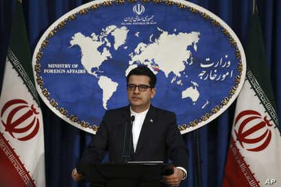 In this May 28, 2019 photo, Iran's Foreign Ministry spokesman Abbas Mousavi speaks at a media conference in Tehran, Iran. Iran remains open to diplomacy to save its 2015 nuclear deal with world powers but has