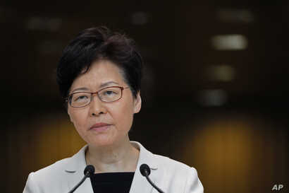 Hong Kong Chief Executive Carrie Lam Listens to reporters' questions during a press conference in Hong Kong Tuesday, Aug. 27, 2019. Lam said she met with a group of young people including some who have taken part in political protests, but she…