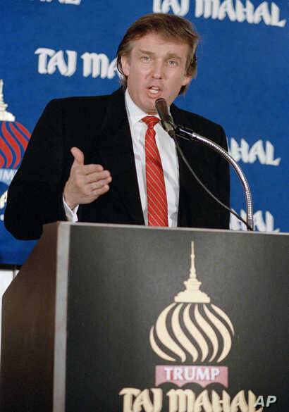 FILE - In this Feb. 28, 1989 file photo, real estate mogul Donald Trump speaks during a news conference in New York, announcing the opening of his Taj Mahal Resort Casino in Atlantic City, N.J. Trump once claimed to be publicity shy, no joke. It's…