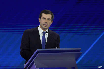 South Bend Mayor Pete Buttigieg responds to a question Thursday, Sept. 12, 2019, during a Democratic presidential primary debate hosted by ABC at Texas Southern University in Houston. (AP Photo/David J. Phillip)
