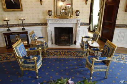 This Sept. 17, 2019, photo shows restored furniture in the Blue Room of the White House in Washington. The restoration was part of the improvement projects that first lady Melania Trump has overseen to keep the well-trod public rooms at 1600…