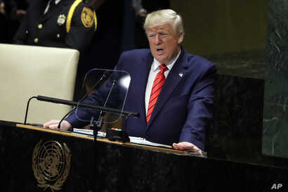 FILE - In this Sept. 24, 2019, file photo, President Donald Trump delivers remarks to the 74th session of the United Nations General Assembly, in New York. China has urged President Trump to oppose bullying following the American leader's criticism…