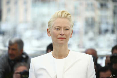 Actress Tilda Swinton poses for photographers at the photo call for the film 'The Dead Don't Die' at the 72nd international film festival, Cannes, southern France, Wednesday, May 15, 2019. (Photo by Joel C Ryan/Invision/AP)