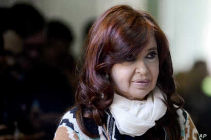 Former President Cristina Fernandez, who is running as vice president with center-left Peronist candidate Alberto Fernandez,…