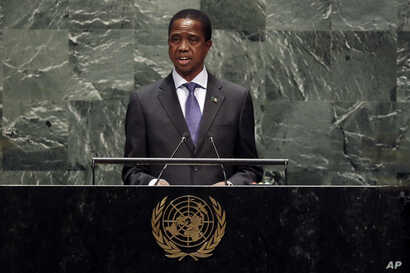 Zambia's President Edgar Chagwa Lungu addresses the 74th session of the United Nations General Assembly, Wednesday, Sept. 25,…