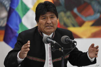 Bolivia's President Evo Morales speaks during a press conference at the presidential palace in La Paz, Bolivia, Wednesday, Oct…