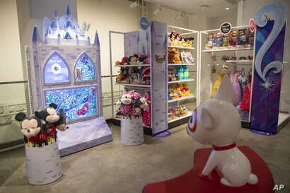 In this Wednesday, Oct. 23, 2019, photo shows a Disney interactive display during a Target Holiday Outlook event in New York…