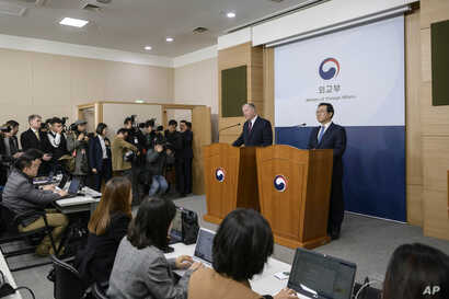 U.S. Special Representative for North Korea Stephen Biegun, second from right, speaks as his South Korean counterpart Lee Do…
